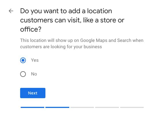 Select Whether You Have a Physical Location for Google My Business