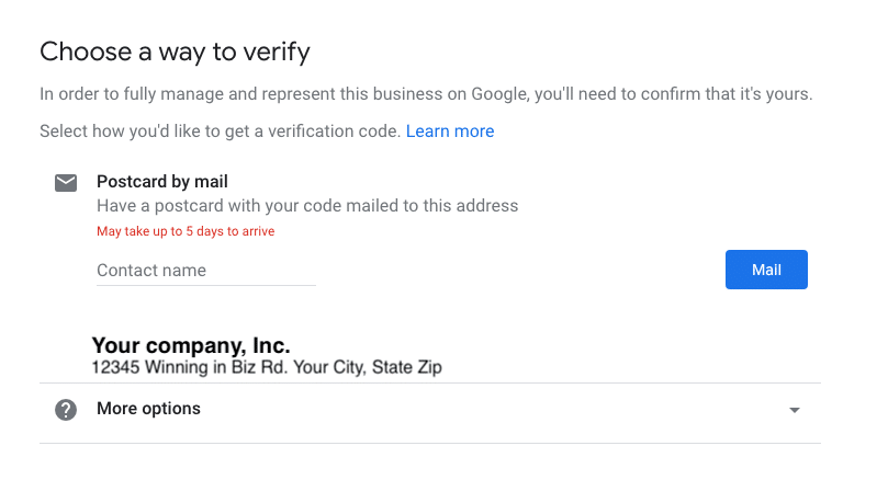 Postcard verification for Google My Business